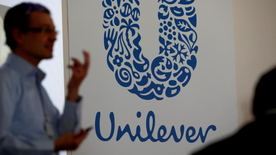 The logo of the Unilever group is seen at the Miko factory in Saint-Dizier, France