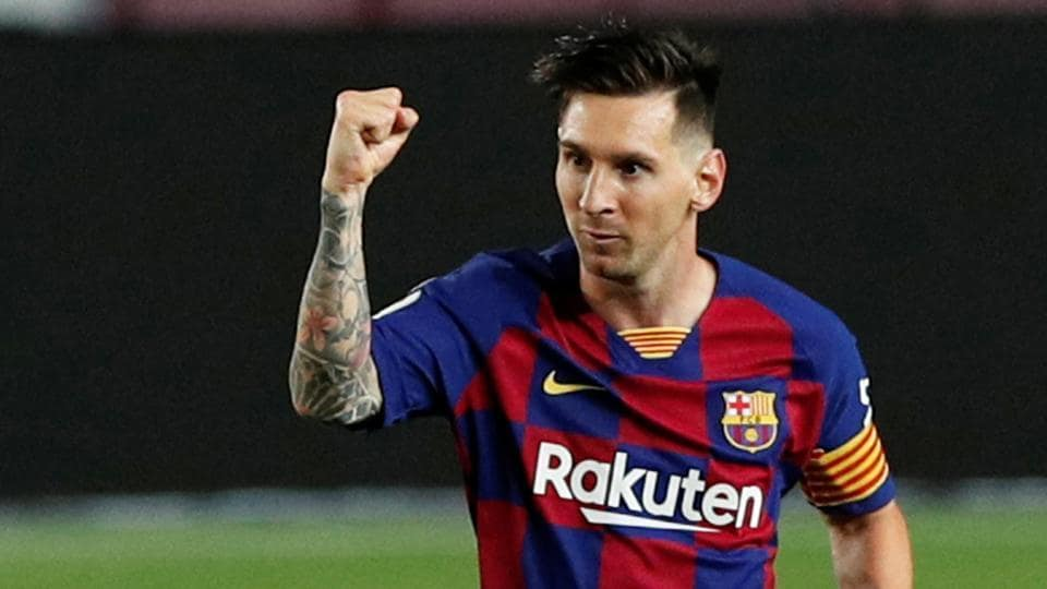 Barcelona's Lionel Messi celebrates scoring their second goal, as play resumes behind closed doors following the outbreak of the coronavirus