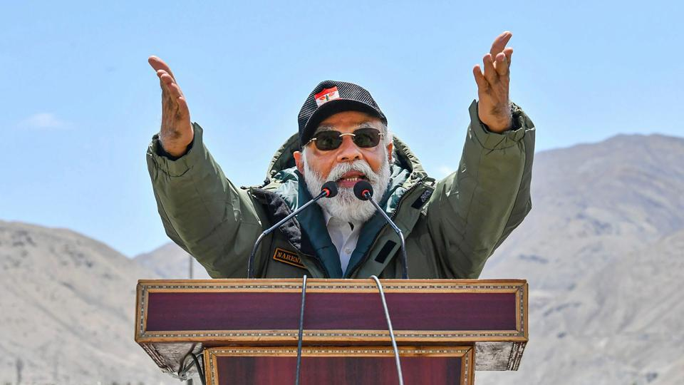 Prime Minister Narendra Modi addresses the Indian troops during his visit to the forward post in Ladakh, Friday, July 3, 2020.