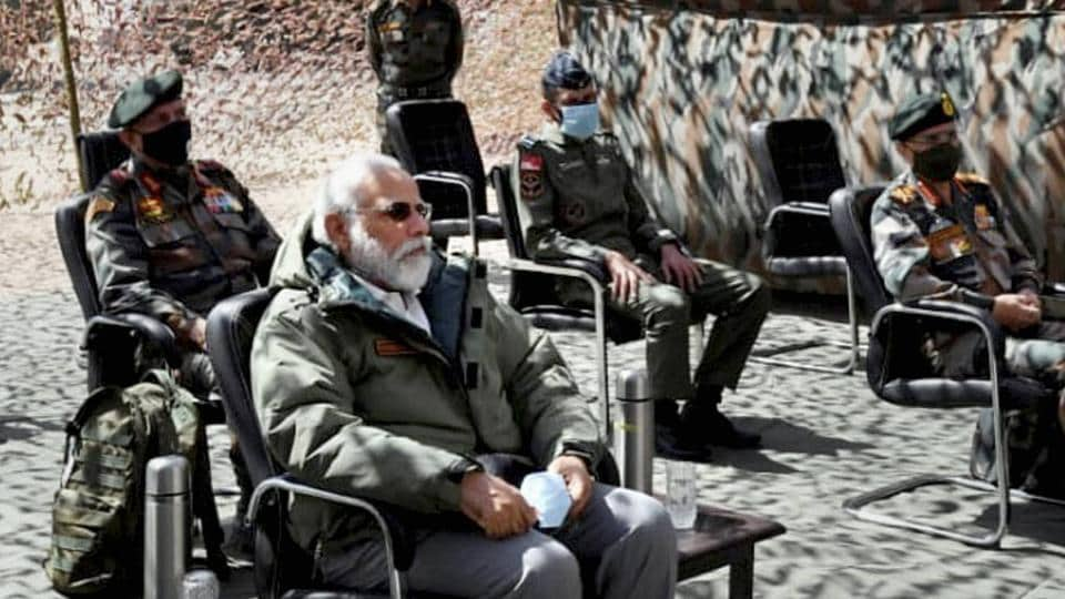 Prime Minister Narendra Modi made a surprise visit to Ladakh to review the ground situation at the border with China