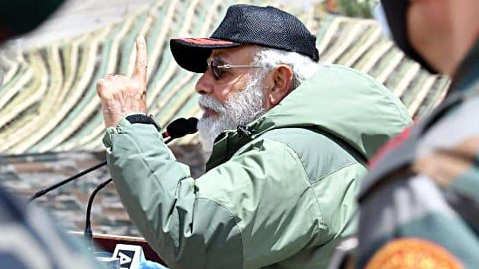 Prime Minister Narendra Modi addresses soldiers during his surprise visit to Ladakh on Friday