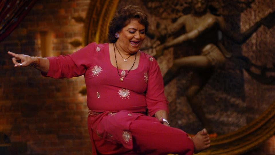"""Bollywood dance choreographer Saroj Khan seen during a show at Riverdale studio in Matunga, Mumbai on December 2, 2007. Saroj was admitted to Mumbai's Guru Nanak Hospital last month after she complained of trouble in breathing. """"She passed away due to cardiac arrest at around 2:30 am at the hospital,"""" her nephew Manish Jagwani told PTI. (Prodip Guha / HT Archive)"""