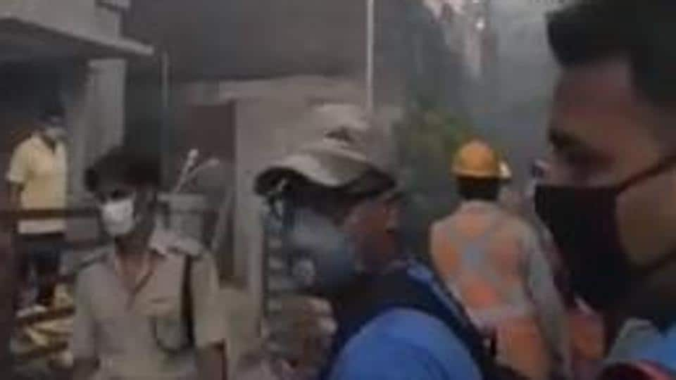 The scene from the locality in west Kolkata where the fire accident took place. (Videograb)