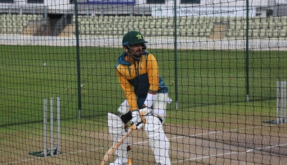 Pakistan's limited overs captain Babar Azam practices in the nets in England.