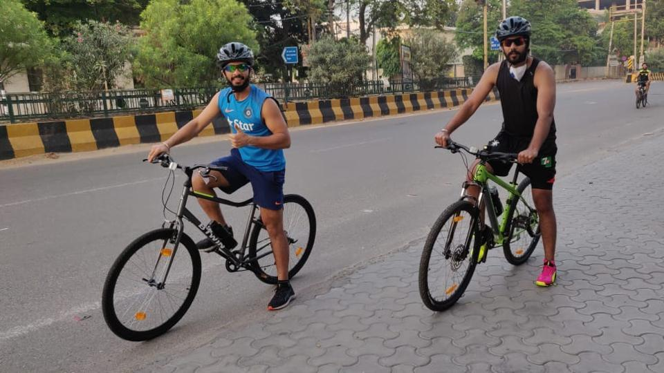Many cricketers have taken up long-route cycling to maintain their fitness levels. (Left) Punjab captain Mandeep Singh incorporated cycling to his fitness regimen amid the lockdown.