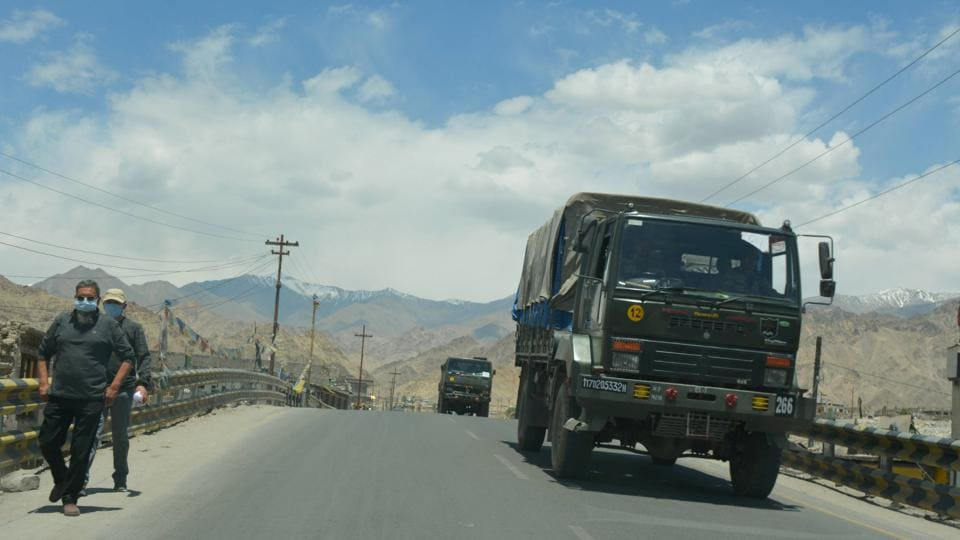 A convoy of Indian army trucks move towards the Line of Actual Control (LAC) in eastern Ladakh, in the backdrop of the current stand-off with Chinese troops, in Leh.