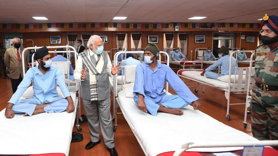 Prime Minister Narendra Modi visits soldiers receiving treatment after being injured in clashes with Chinese soldiers, at a military hospital in Leh, Ladakh area, India.