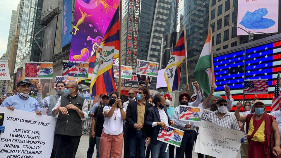 The protest comes after the brutal June 15 border clash in eastern Ladakh's Galwan Valley during which 20 Indian Army soldiers were killed and 76 injured.