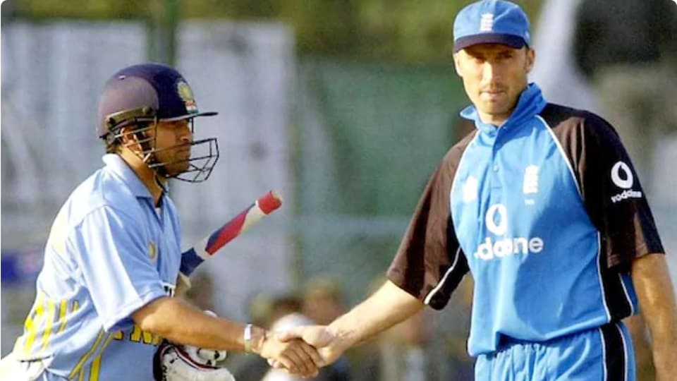 File image of SachinTendulkar and Nasser Hussain shaking hands.