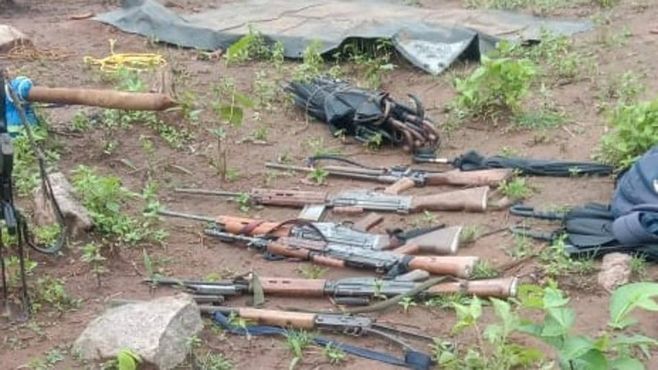 Police seized  six automatic rifles from the site of the encounter with the Maoists.
