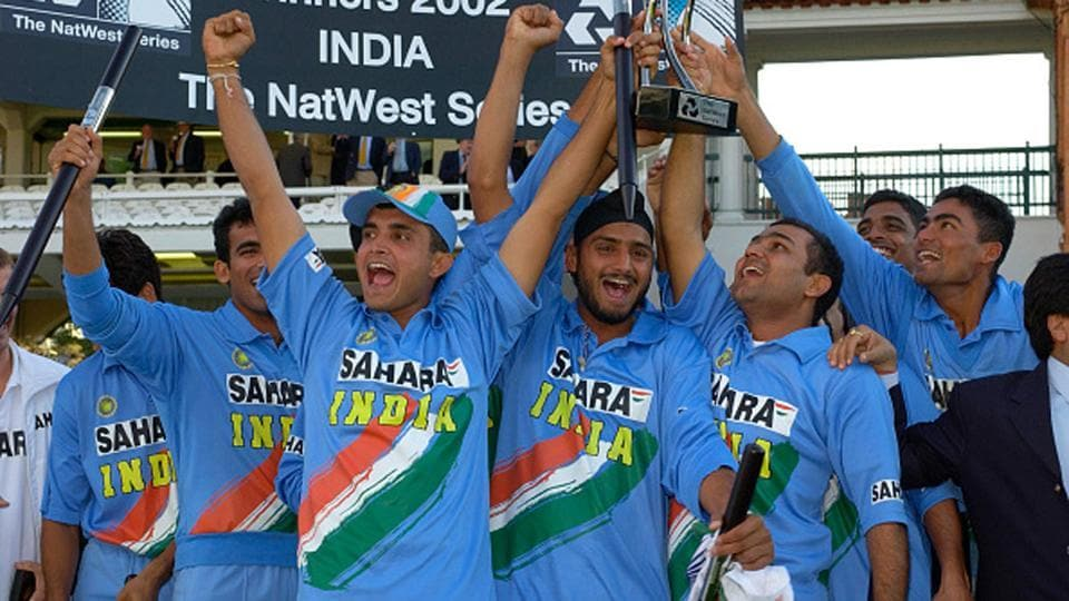 The Indian cricket team that won the 2002 Natwest Trophy under Sourav Ganguly.