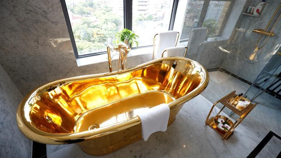 A gold plated bathtub at the Dolce Hanoi Golden Lake luxury hotel in Hanoi, Vietnam.  (REUTERS/Kham)
