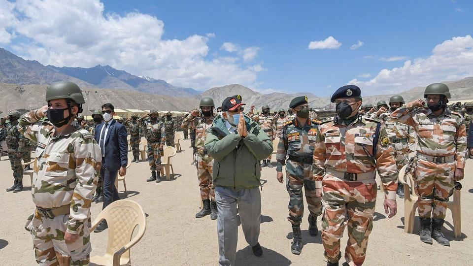 Prime Minister Narendra Modi has no words of criticism for the  Indian Army, Air Force or ITBP, but only pumped up the troopers with wholesome praise and the promise of full backing, said another senior official.