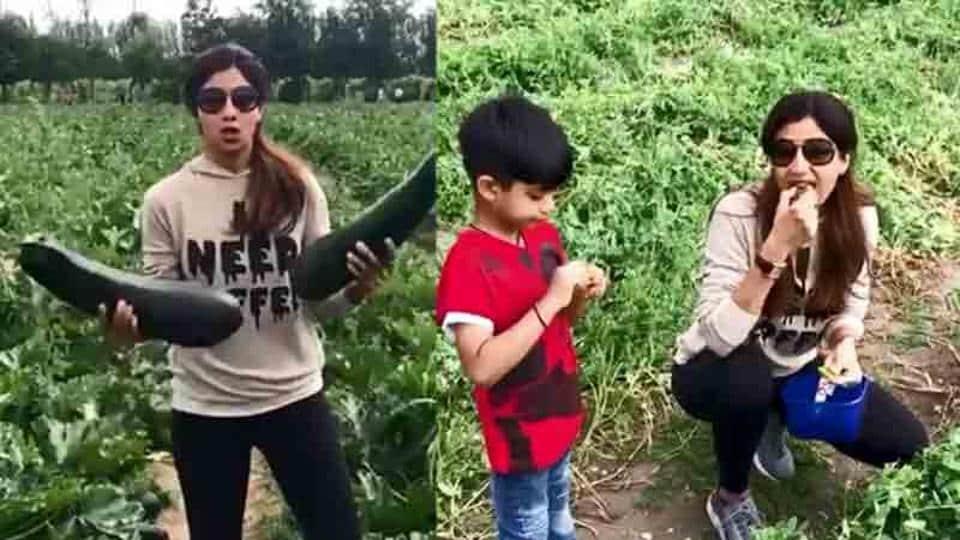 Shilpa Shetty visits an organic farm with son Viaan.