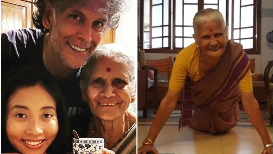 Milind Soman and wife Ankita Konwar celebrated his mother Usha's birthday on July 3.