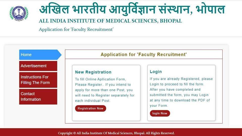 AIIMS Bhopal Recruitment 2020.