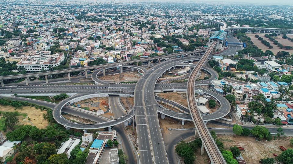 An aerial view of deserted Kathipara flyover during an intensified lockdown as a preventive measure against the spread of coronavirus disease, in Chennai on Sunday.