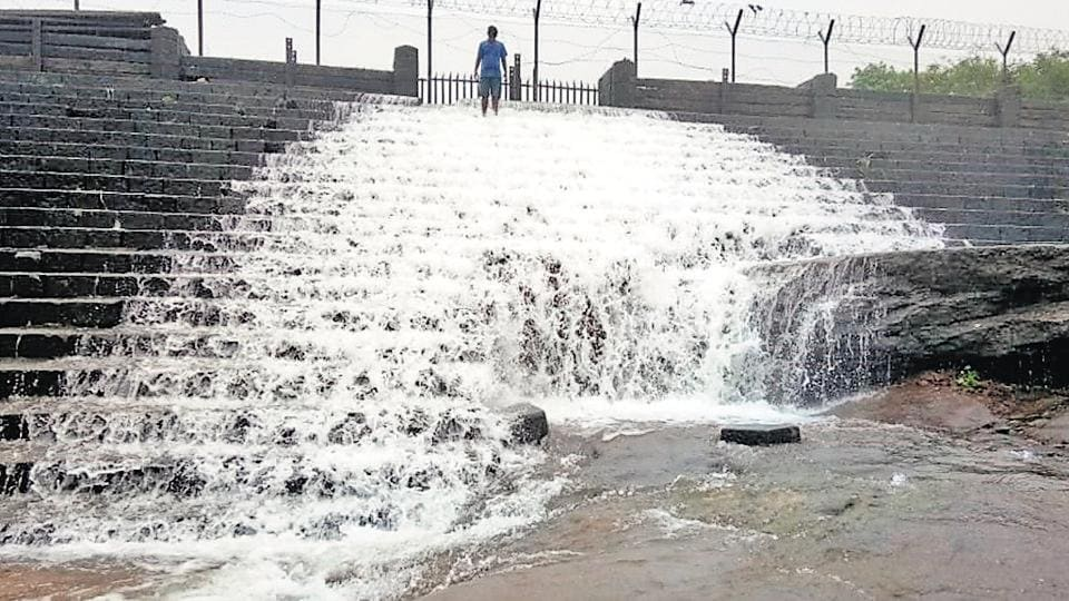 Bhushi dam in Lonavla overflows. Every monsoon a large number of revellers throng the tourist destination, but this year tourist movement is banned in the area.