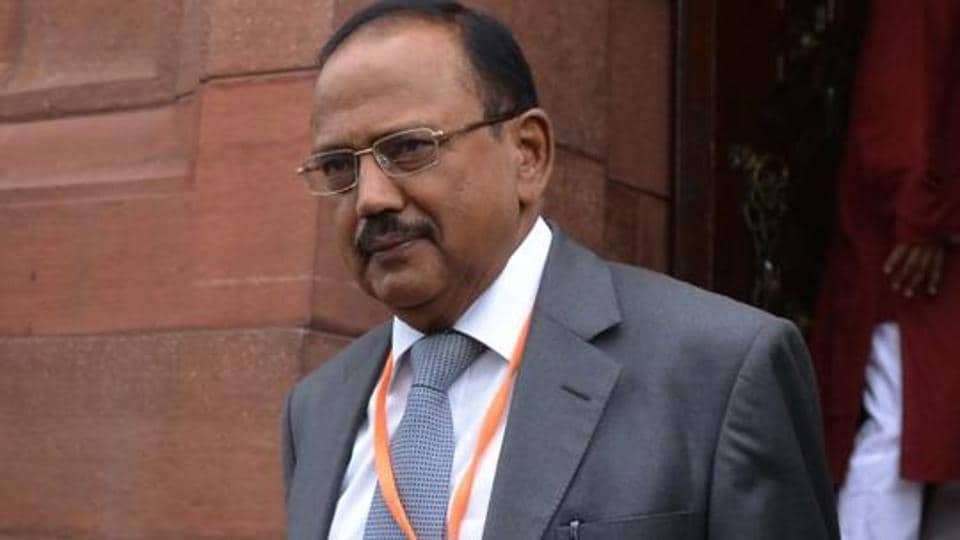 National Security Advisor Ajit Doval comes out of the Parliament House in New Delhi.