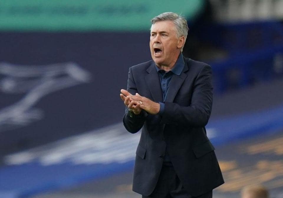 Soccer Football - Premier League - Everton v Leicester City - Goodison Park, Liverpool, Britain - July 1, 2020 Everton manager Carlo Ancelotti, as play resumes behind closed doors following the outbreak of the coronavirus disease (COVID-19) Jon Super/Pool via REUTERS