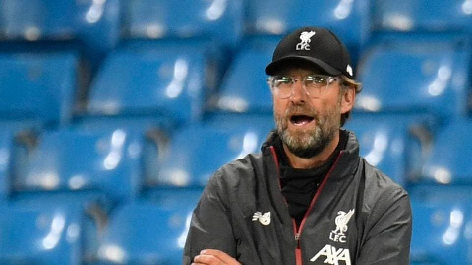 Soccer Football - Premier League - Manchester City v Liverpool - Etihad Stadium, Manchester, Britain - July 2, 2020 Liverpool manager Juergen Klopp, as play resumes behind closed doors following the outbreak of the coronavirus disease (COVID-19) Peter Powell/Pool via REUTERS
