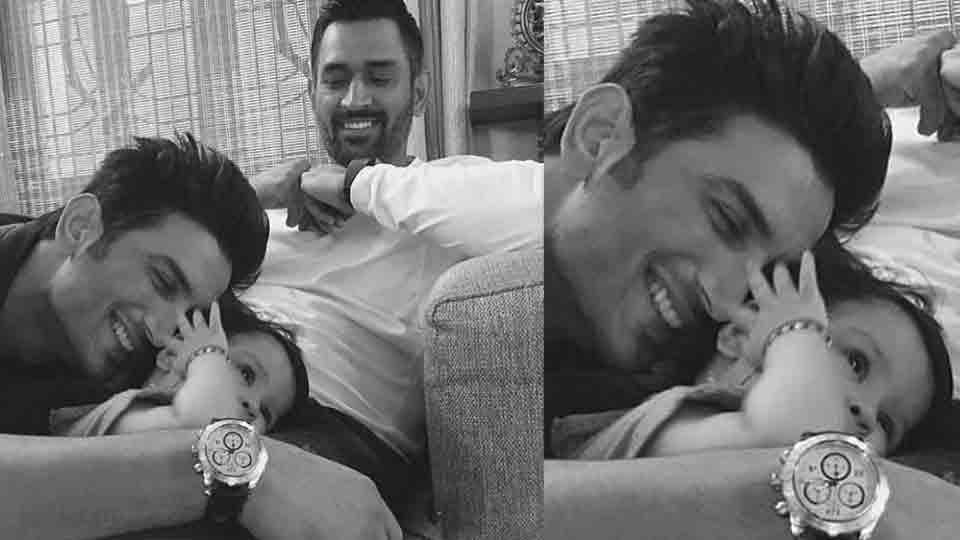 Sushant Singh Rajput also got a chance to hang around with MS Dhoni's daughter Ziva and couldn't stop playing with the little one.