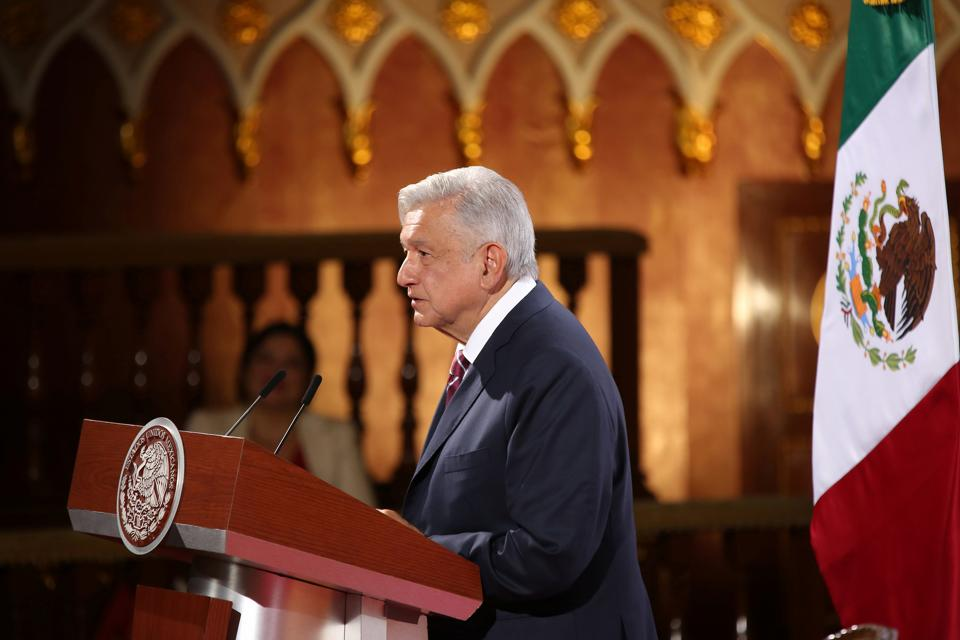 Mexico's President Andres Manuel Lopez Obrador delivers his speech to mark the second anniversary of his presidency, at the National Palace in Mexico City, Mexico.
