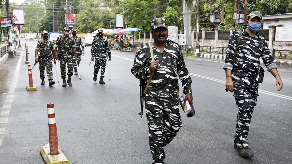 CRPF personnel patrol on street during nationwide lockdown.