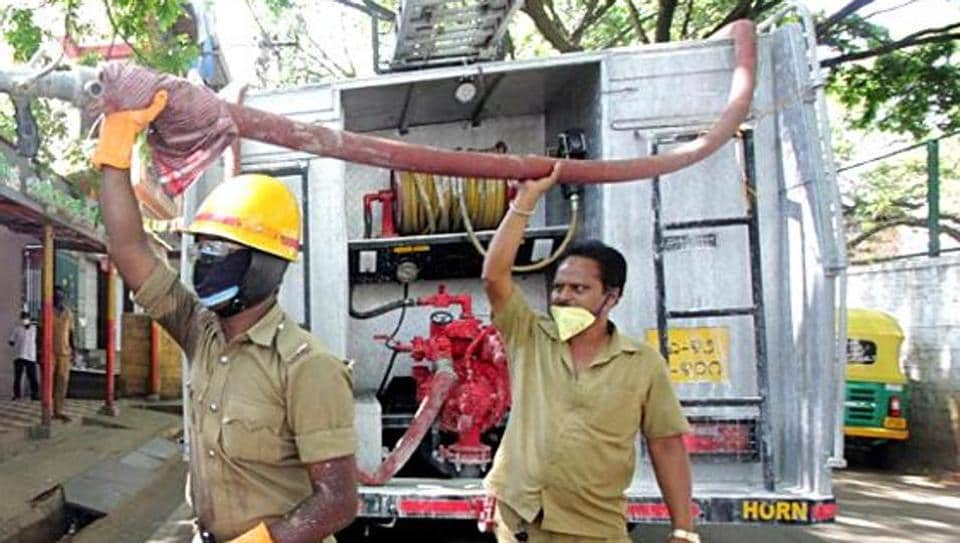 The call about the fire was received around 1.30 pm and five fire tenders were rushed to the spot, an official said.