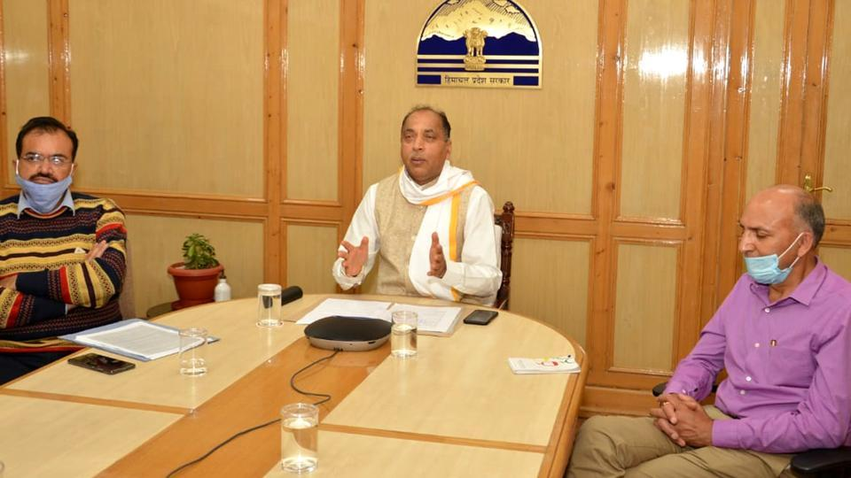 Chief minister Jai Ram Thakur holding a video-conference in Shimla on Tuesday.