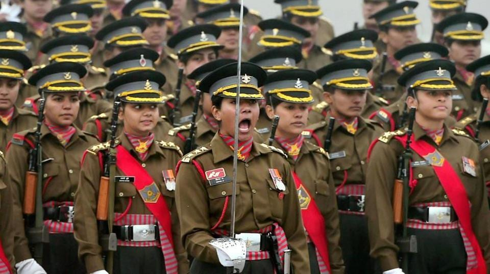 All women contingent of Indian Army during the rehearsal for the Republic Day parade at Rajpath in New Delhi.