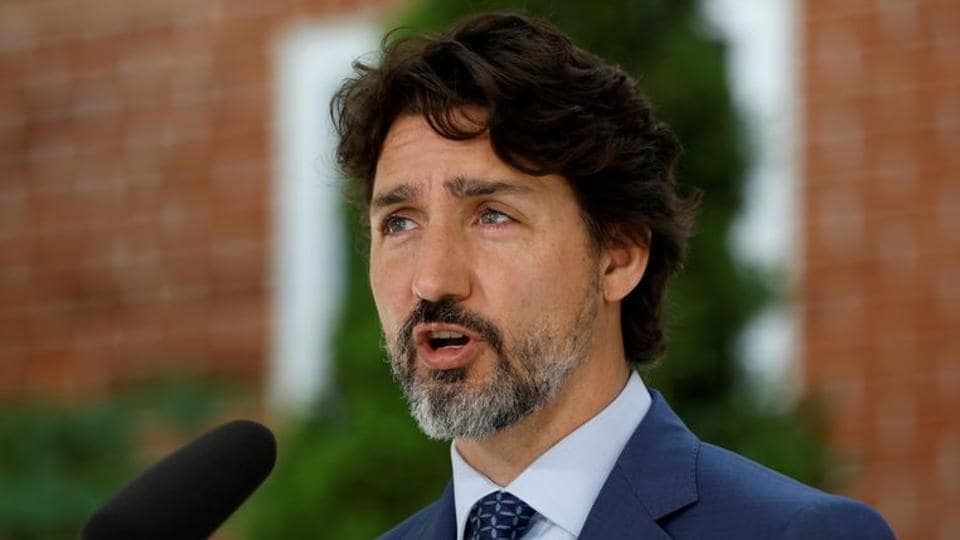 Canada's Prime Minister Justin Trudeau attends a news conference at Rideau Cottage, as efforts continue to help slow the spread of coronavirus disease (Covid-19) in Ottawa, Ontario, Canada in June  2020.