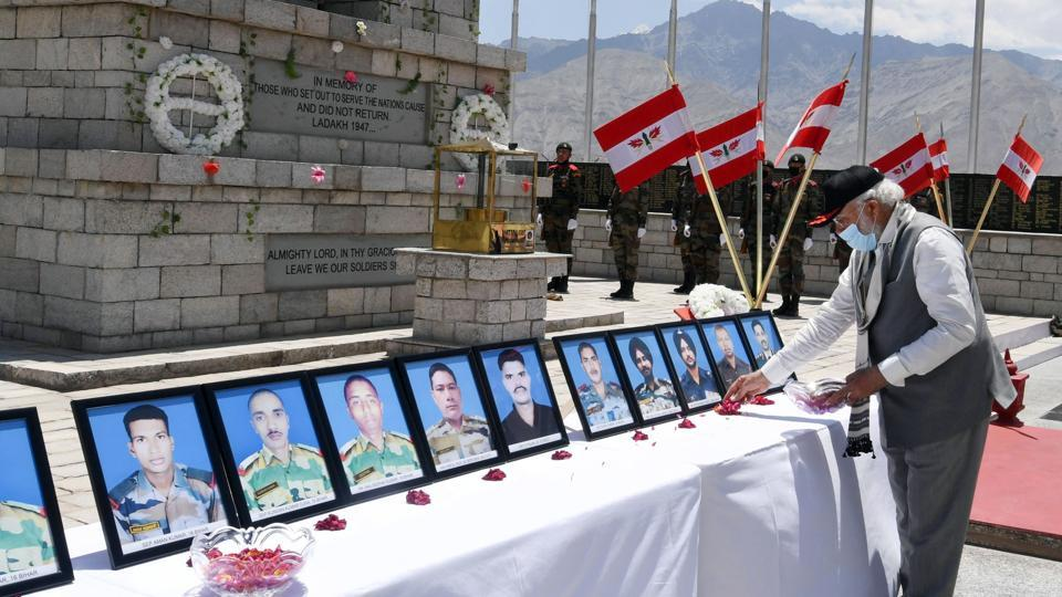 Prime Minister Narendra Modi paying tributes to martyrs who lost their life in Galwan Valley Clash of June 15, during his visit to Ladakh, at Nimu in Leh on July 3, 2020.