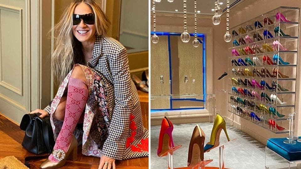 Sarah Jessica Parker and her NYC flagship shoe store (R).