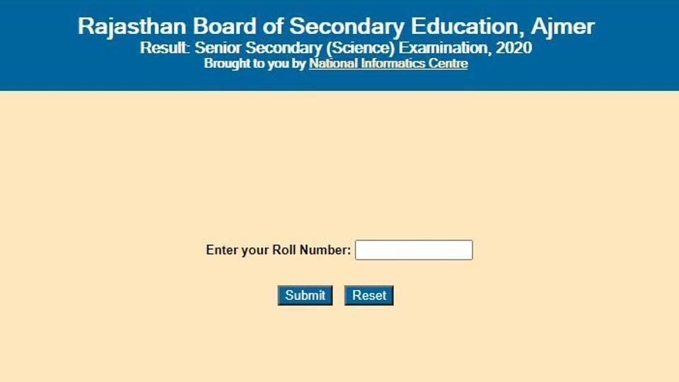 Rajasthan Board 12th Science Result 2020.