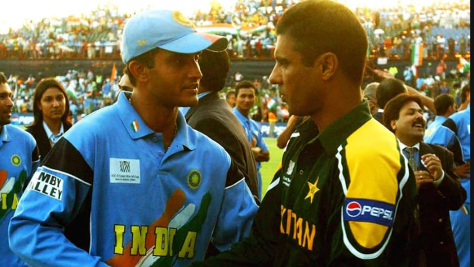 File image of Sourav Ganguly with Waqar Younis.