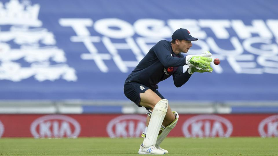 England wicketkeeper Jos Buttler during a nets session at the Ageas Bowl in Southampton, England, Tuesday July 7, 2020. England are scheduled to play West Indies in their first Test match on July 8-12. (Stu Forster/Agency Pool)