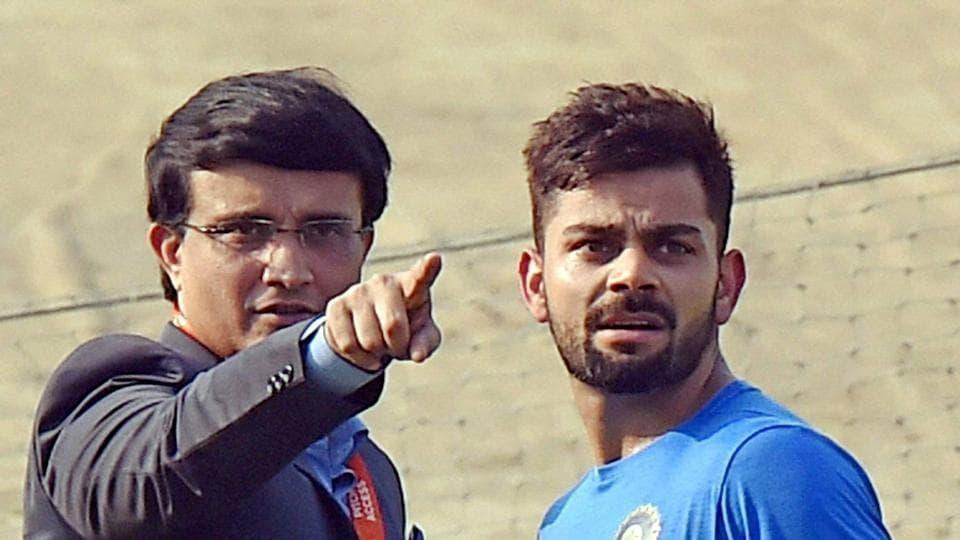 Sourav Ganguly with Virat Kohli during Indian team's practice session at the Eden Gardens in Kolkata on Friday.