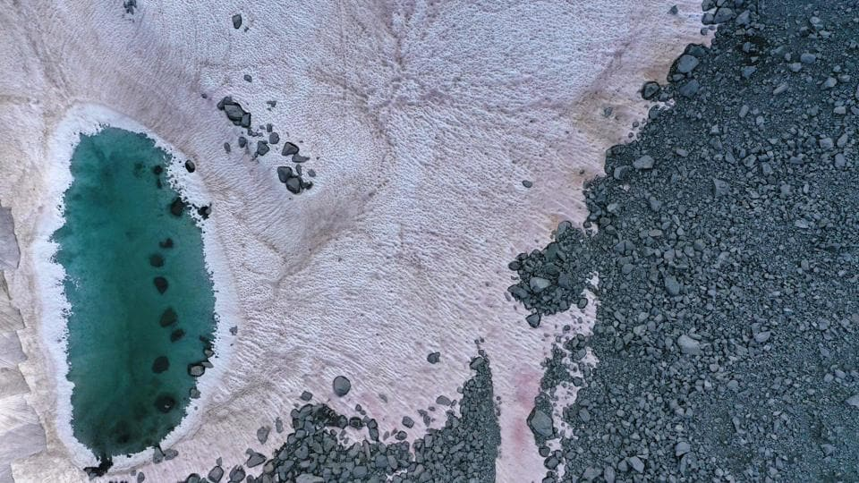 An aerial picture taken above the Presena glacier near Pellizzano shows pink coloured snow on July 03. Scientists in Italy are investigating this mysterious phenomenon which is being linked to the alga that is believed to accelerate the effects of climate change. (Miguel Medina / AFP)