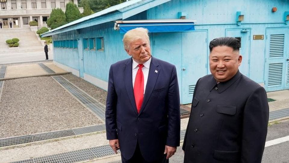 In this file photo, US President Donald Trump meets with North Korean leader Kim Jong Un at the demilitarized zone separating the two Koreas, in Panmunjom, South Korea.