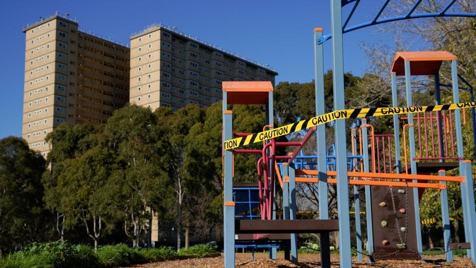 A playground is cordoned off with caution tape to restrict public access during the coronavirus lockdown on July 8. The moves to contain a flare-up of coronavirus cases in Melbourne, home to 4.9 million people, come in the middle of school winter holidays, halting travel plans for thousands of families on both sides of the border. (Sandra Sanders / REUTERS)