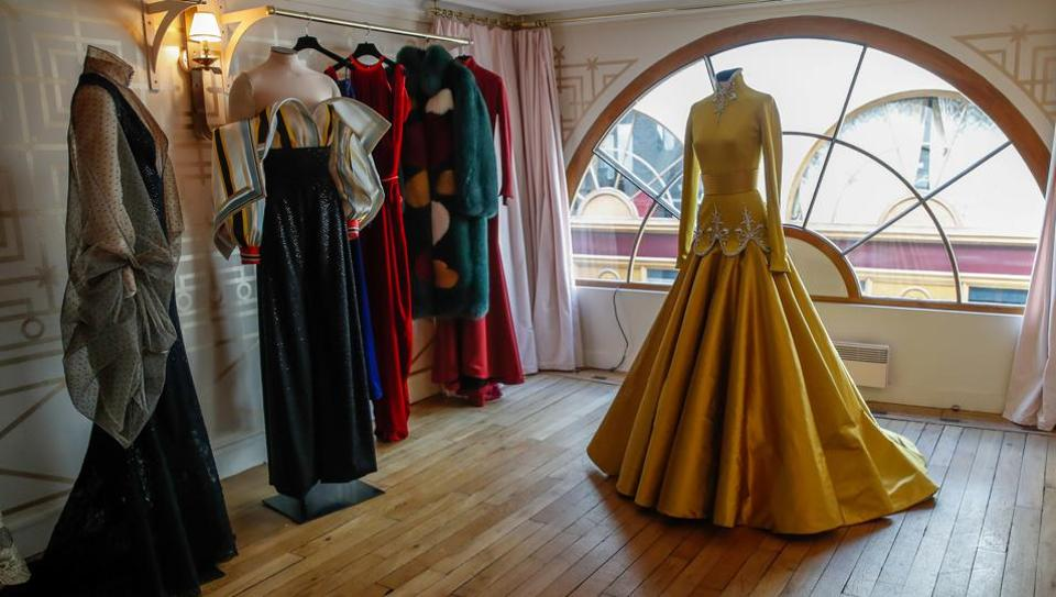 Creations by designer Alexis Mabille are displayed ahead of his Haute Couture Online Fall/winter 2020/2021 collection presentation in Paris, France, July 6, 2020.
