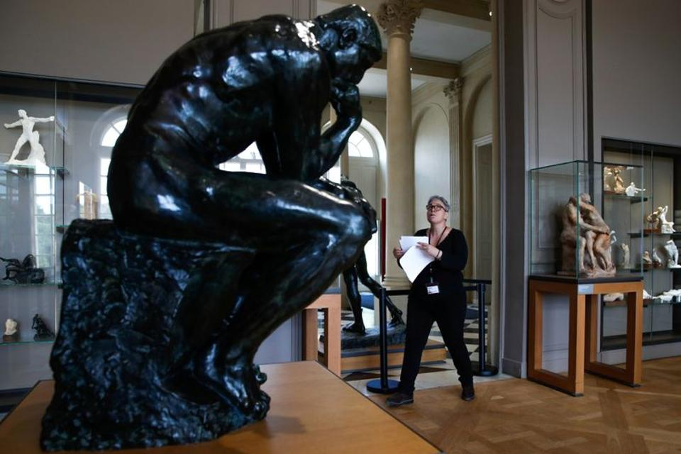 An employee checks a room at the Rodin museum in Paris on the eve of its reopening after almost 4-month closure due to the coronavirus disease (COVID-19) outbreak in France, July 6, 2020.  (REUTERS)