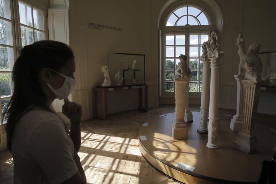 A traveler visits the Rodin museum in Paris Tuesday, July 7, 2020.  (AP)