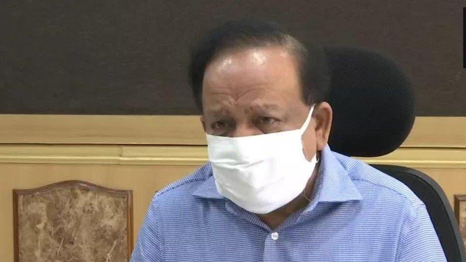 Union health minister Harsh Vardhan addressing a press conference after a meeting on Covid-19 situation in India on Thursday.