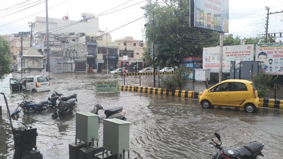 A water-logged street in Haridwar after heavy rain.