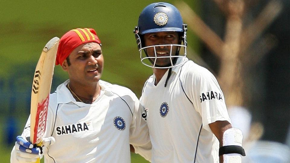 Wasim Jaffer and Virender Sehwag batting together for India.