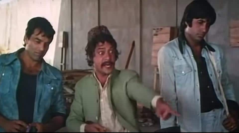 Jagdeep with Amitabh Bachchan and Dharmendra in the iconic scene from Sholay.