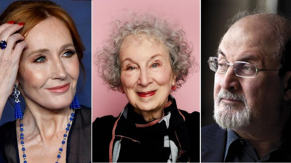 Authors (L-R) JK Rowling, Margaret Atwood and Salman Rushdie