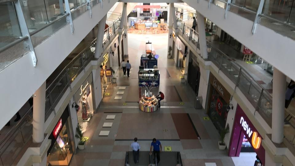 A view inside a near empty DT City Center Mall on MG Road, in Gurugram.